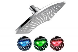 Alcachofa de ducha con luz LED y pantalla LCD que cambia de color