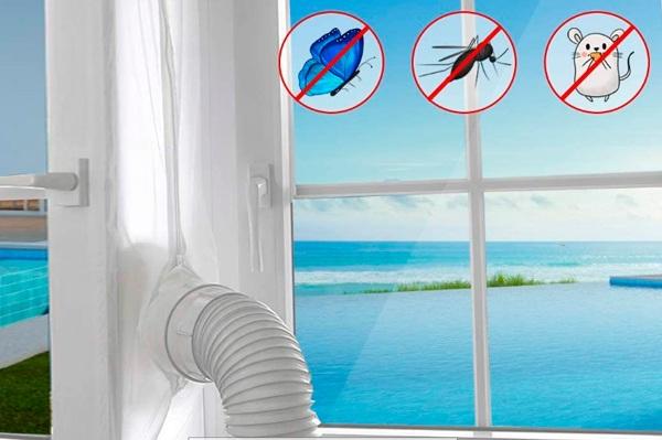 Aislamiento Ventanas para Aire Acondicionado Móvil y Secadora, Sello de Ventanas Impermeable, Anti UV, Anti-Mosquitos, con Dual Cremallera